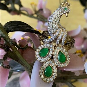 Vintage 925 emerald & topaz peacock ring